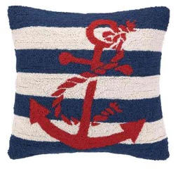 Blue Stripe Anchor boat pillow