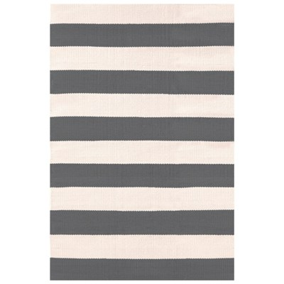 Catamaran Stripe Graphite Ivory Indoor Outdoor Rug