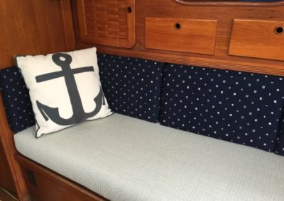 Yacht Upholstery Grey with Navy Blue Back and Pillow White Anchor