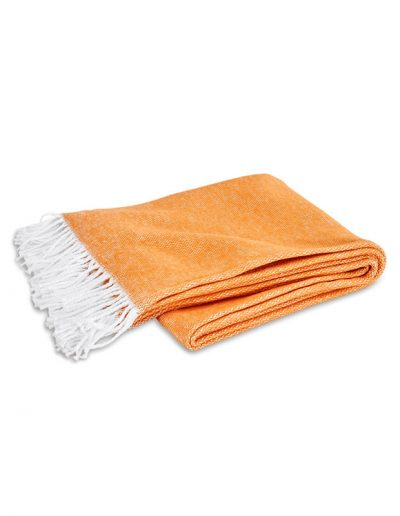 Matouk Pezzo Tangerine Throw Blanket