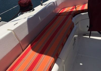 Yacht Upholstery Orange Stripes Outdoor Seating Corner