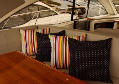 Yacht Pillows Blue Polka-Dots and Rainbow Stripes