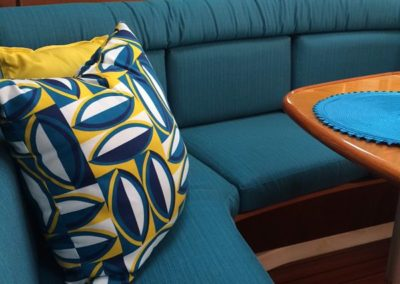 Yacht Upholstery Teal and Pillow Yellow