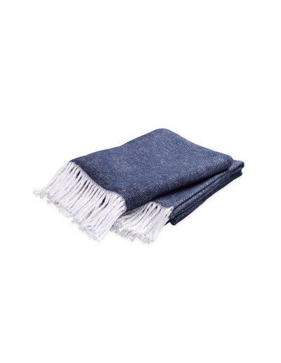 Matouk Pezzo Navy Throw Blanket